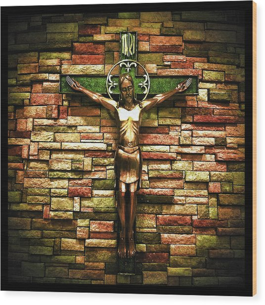 Jesus Is His Name Black Border Wood Print