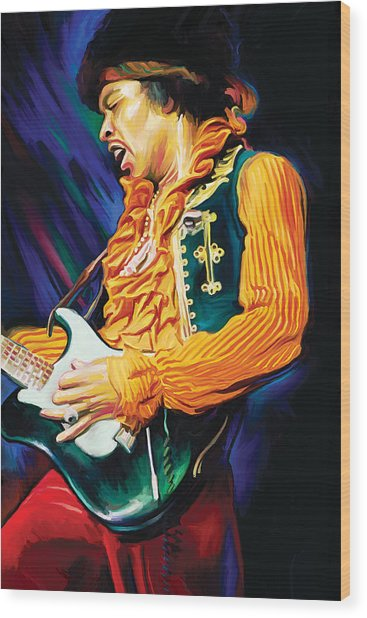 Jimi Hendrix Artwork Wood Print by Sheraz A