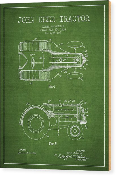John Deer Tractor Patent Drawing From 1932 - Green Wood Print