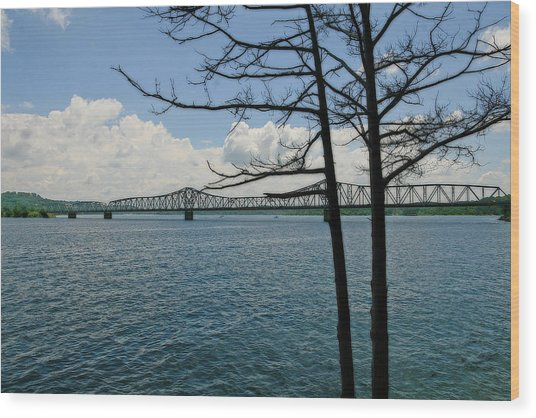 Kimberling City Bridge Wood Print