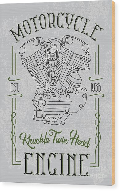 Knuckle Twin Head Motorcycle Engine Wood Print by Sergj