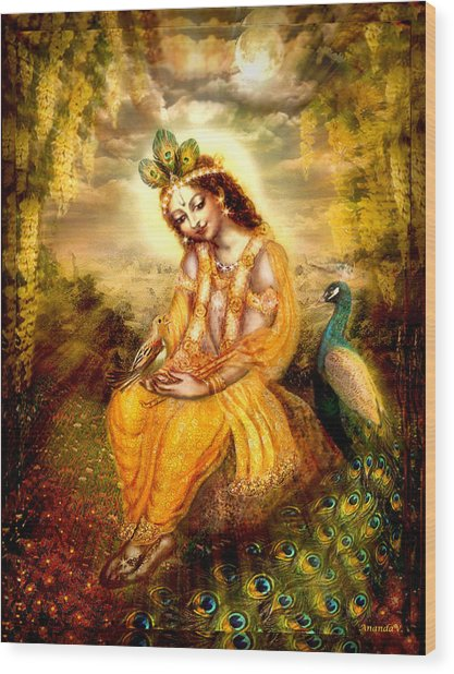 Krishna With The Peacock Wood Print by Ananda Vdovic