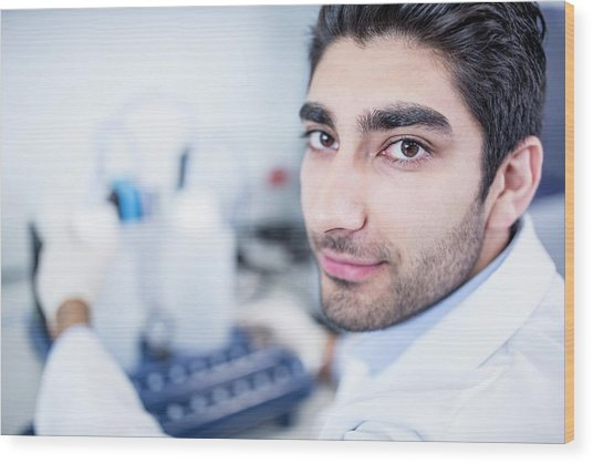 Lab Assistant Using Equipment Wood Print by Science Photo Library