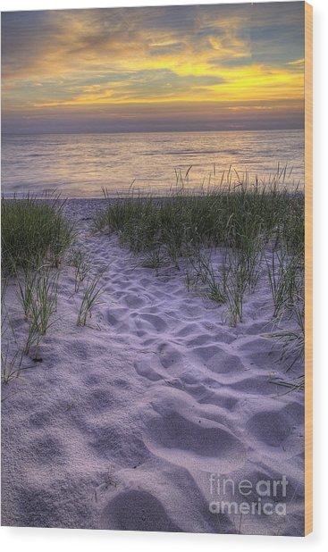Lake Michigan Sunset Wood Print by Twenty Two North Photography