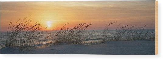 Lake Michigan Sunset Panorama Wood Print