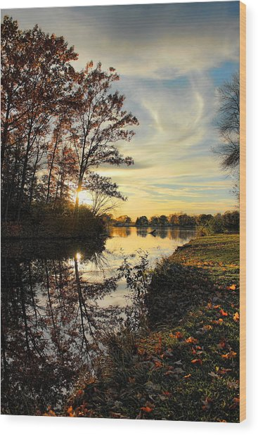 Lake Wausau Sunset Wood Print