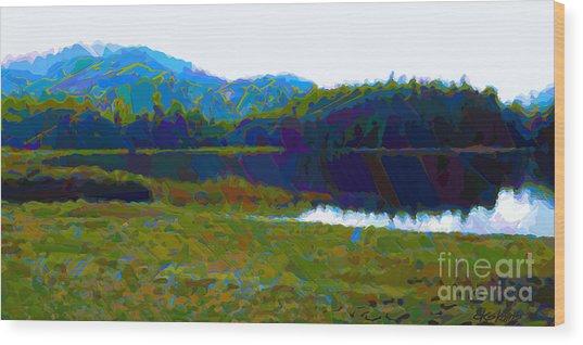 Lakeside Awakes Wood Print by Dorinda K Skains