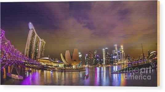 Landscaoe Of Singapore Business District  Wood Print