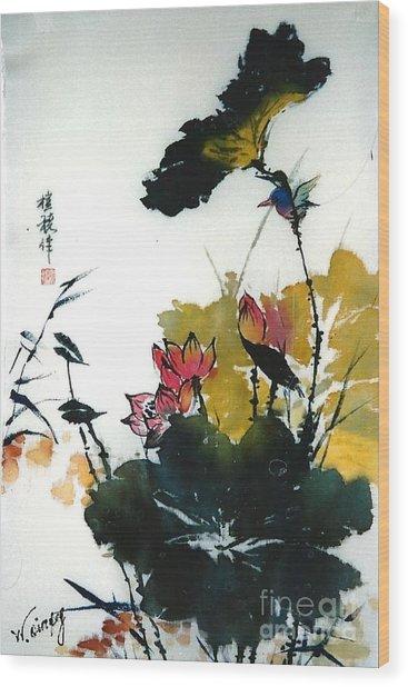 Chinese Flower Brush Painting Wood Print