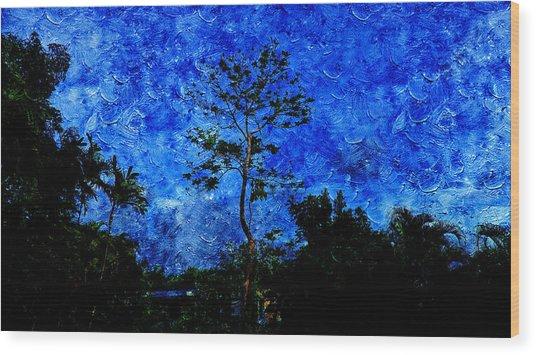 Landscapes In Blue Sky Wood Print
