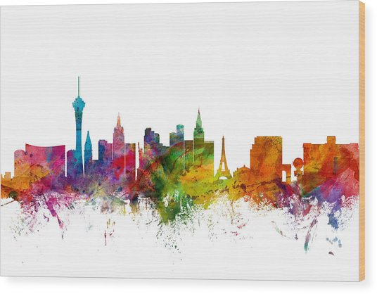 Las Vegas Nevada Skyline Wood Print