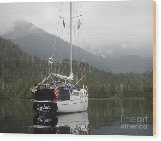 Lealea At Anchor Wood Print by Laura  Wong-Rose