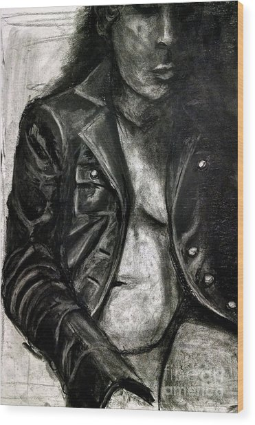 Leather Jacket Wood Print
