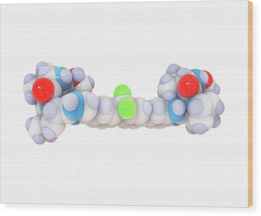 Ledipasvir Hepatitis Drug Molecule Wood Print by Ramon Andrade 3dciencia