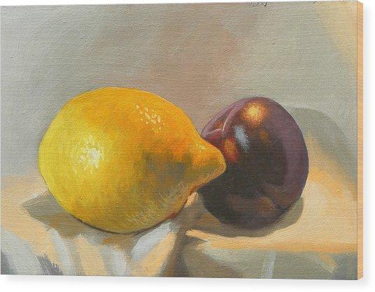 Lemon And Plum Wood Print by Peter Orrock