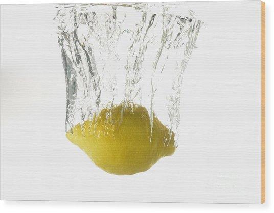 Lemon Splashing Underwater Wood Print by Sami Sarkis