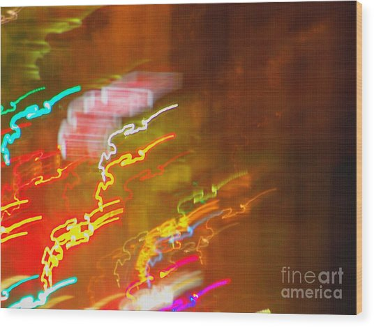 Light Painting - Paris - France  Wood Print by Francoise Leandre