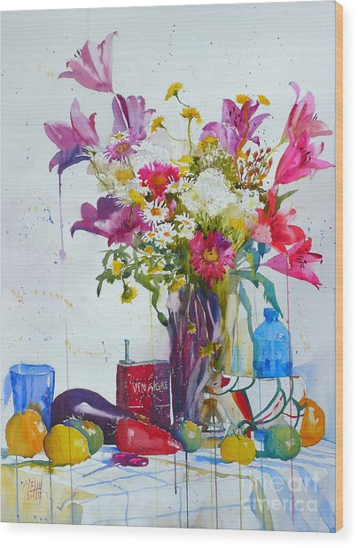 Lilies And Piggy Bank Wood Print by Andre MEHU