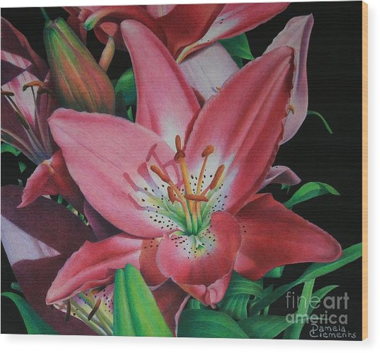 Lily's Garden Wood Print