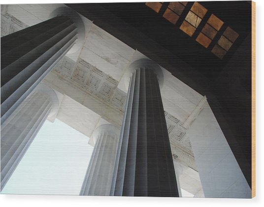 Lincoln Stained Glass And Columns Wood Print
