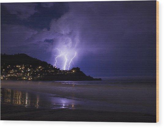 Lightning Over The Ocean Wood Print