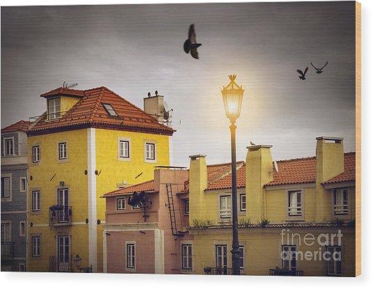 Lisbon Houses Wood Print