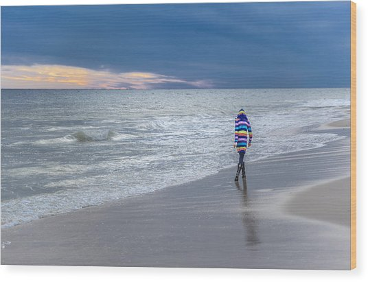 Little Girl At The Beache Wood Print