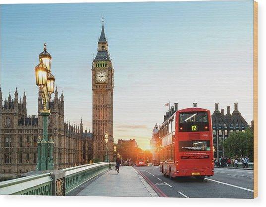 London Big Ben And Traffic On Wood Print