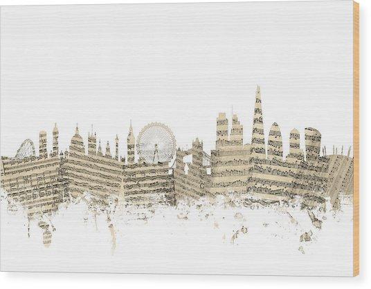 London England Skyline Sheet Music Cityscape Wood Print