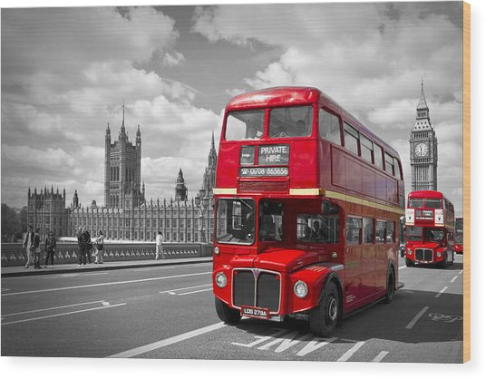 London - Houses Of Parliament And Red Buses Wood Print