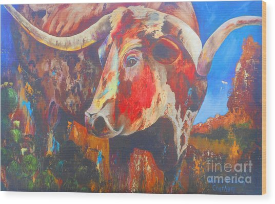 Longhorn Bull Business Wood Print