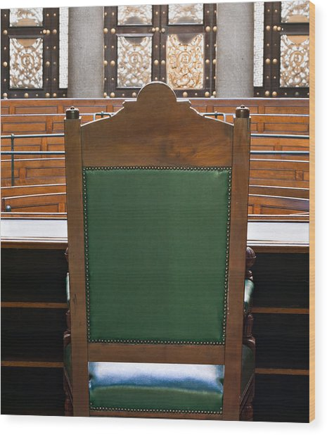 Looking Into Courtroom From Behind Judges Chair Wood Print by Ken Biggs