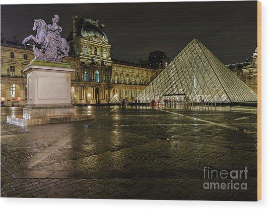Louvre Pyramid And Pavillon Richelieu Wood Print by Rostislav Bychkov