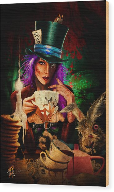 Mad Hatter Wood Print