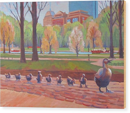 Make Way For Ducklings Wood Print