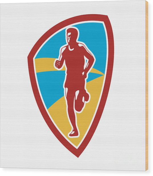 Marathon Runner Shield Retro Wood Print by Aloysius Patrimonio