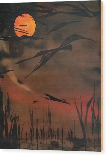 Marsh Birds Wood Print