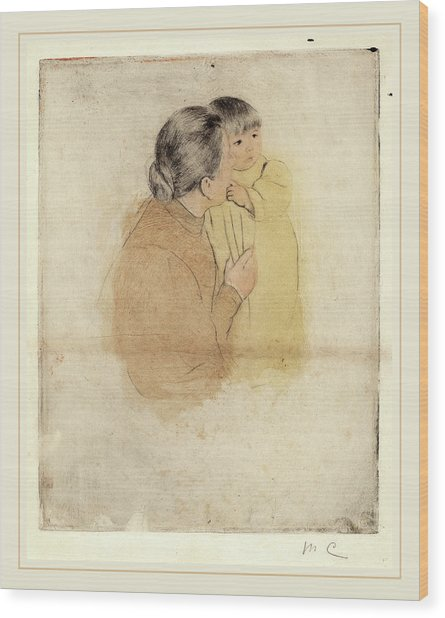 Mary Cassatt, Peasant Mother And Child, American Wood Print