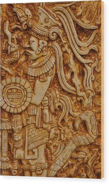 Mayan Indian Warrior Wood Print