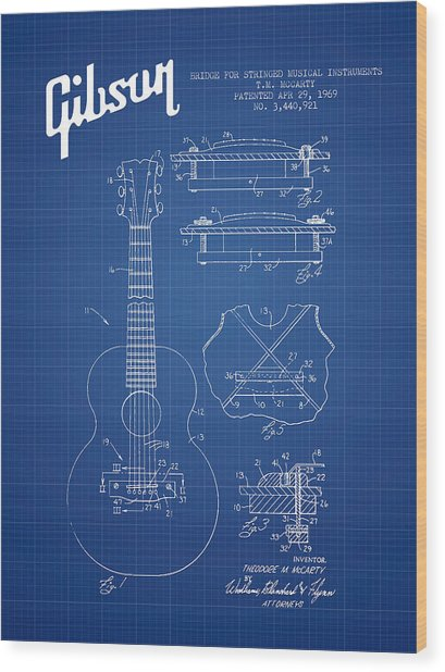 Mccarty Gibson Stringed Instrument Patent Drawing From 1969 - Bl Wood Print