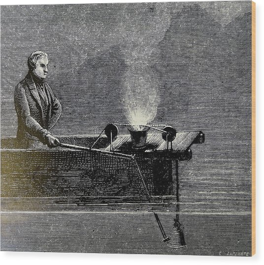 Measuring The Velocity Of Sound In Water Wood Print by Universal History Archive/uig