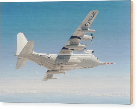 Met Office 'snoopy' Hercules Aircraft Wood Print by British Crown Copyright, The Met Office / Science Photo Library