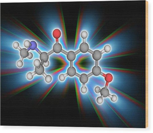 Methedrone (methoxyphedrine) Drug Molecule Wood Print by Laguna Design/science Photo Library