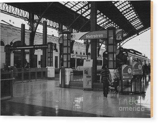 metrotren platforms in Santiago central railway station Chile Wood Print by Joe Fox