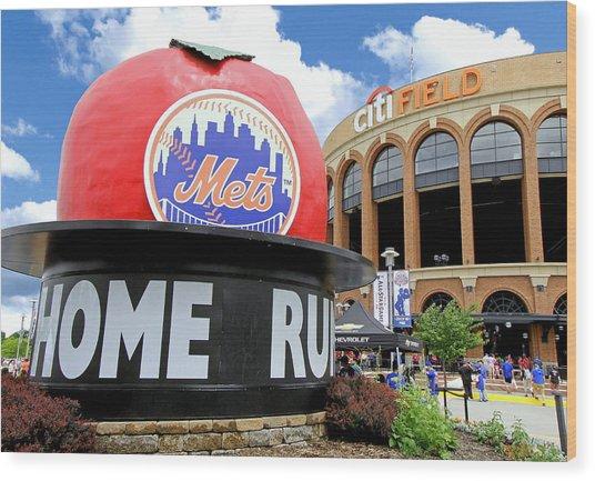 Mets Home Run Apple Wood Print