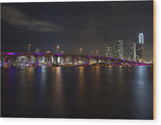 Miami Night Skyline Wood Print
