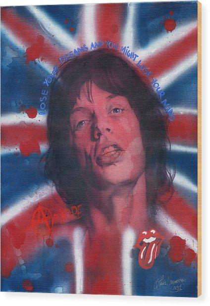 Mick Jagger Wood Print by Luis  Navarro