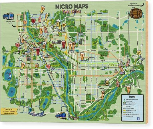 Micro Maps Twin Cities Wood Print