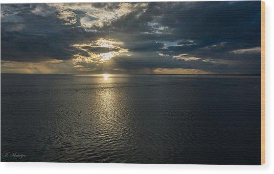 Midnight Sun Over Mount Susitna Wood Print