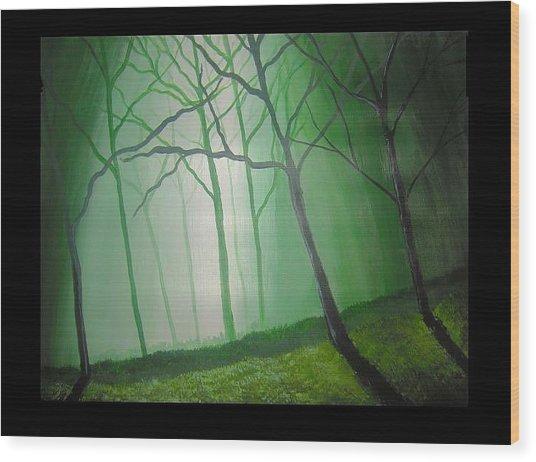Misty Green Wood Print by Haleema Nuredeen